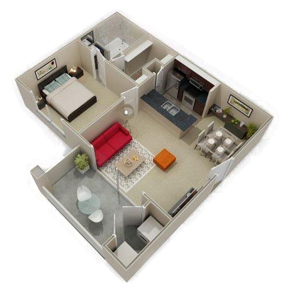3D Photo Of 1 Bed and Bath with Patio