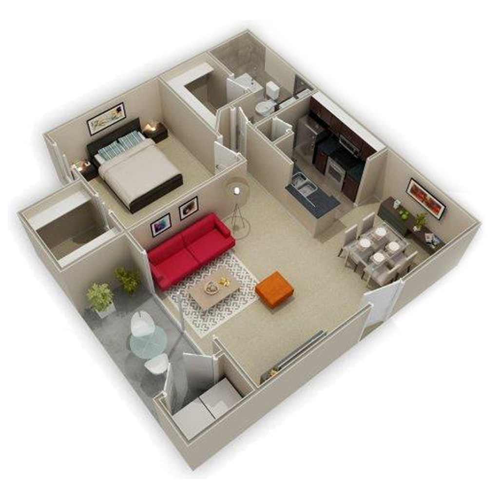 3D Photo Of Spacious 1 Bed and Bath