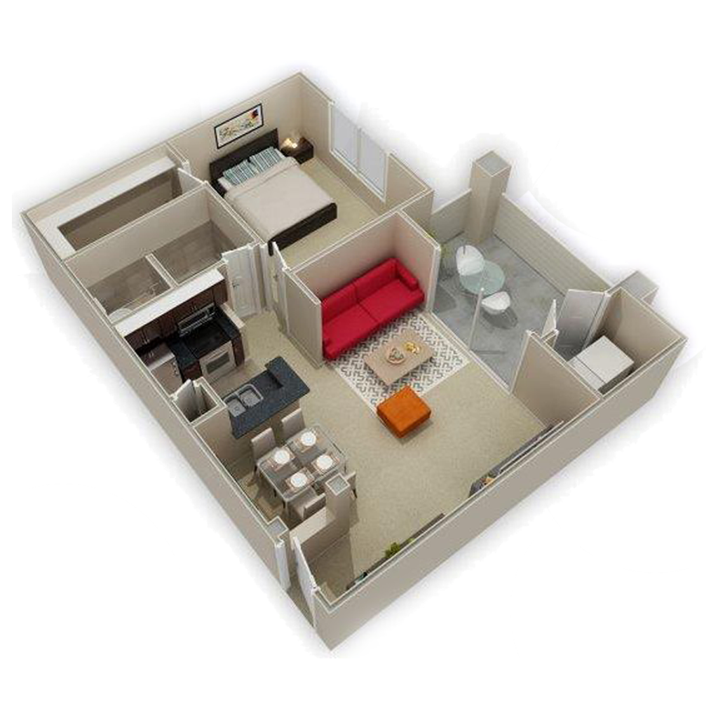 3D Photo Of Amazing 1 Bed and 1 Bath