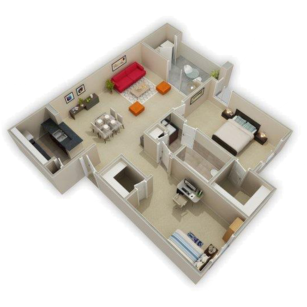 3D Photo Of 2 Bed and Shared Bath